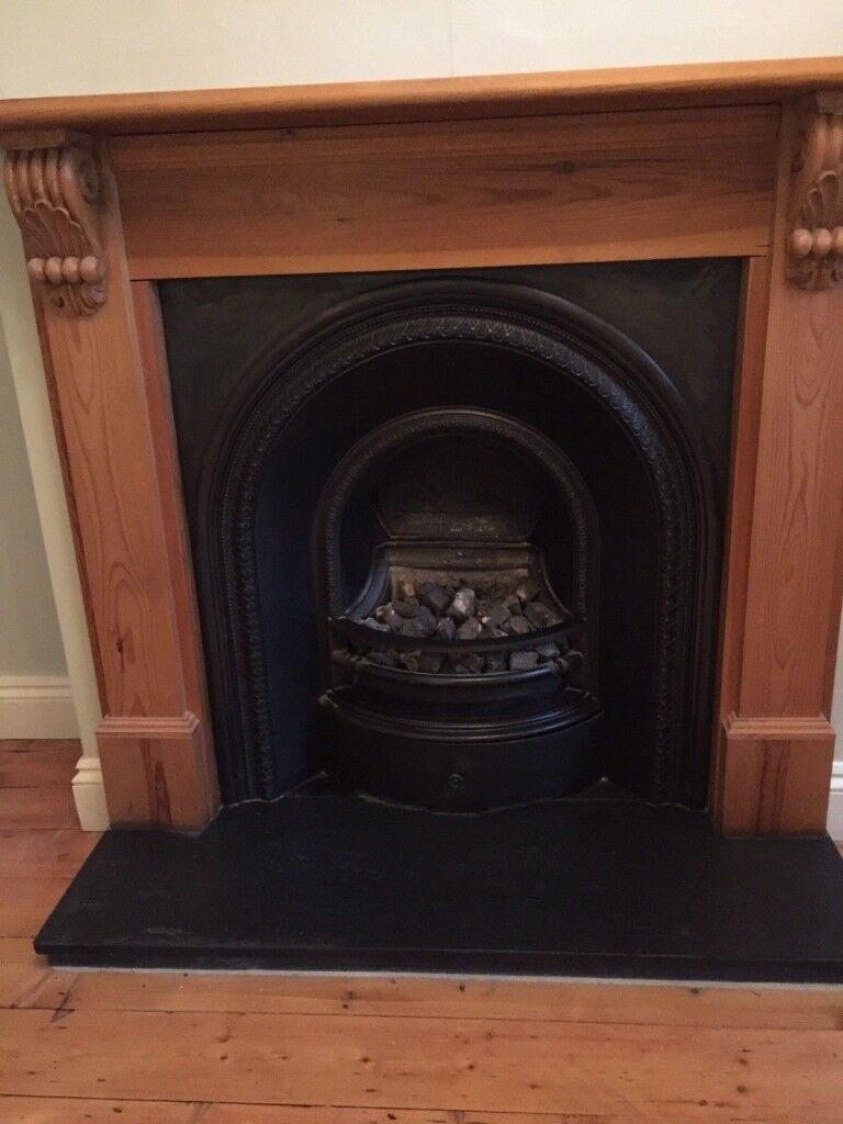 Traditional Antique Cast Iron Insert Gas Fire Slate Hearth Fireplace