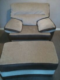 SCS armchair and footstool in excellent condition