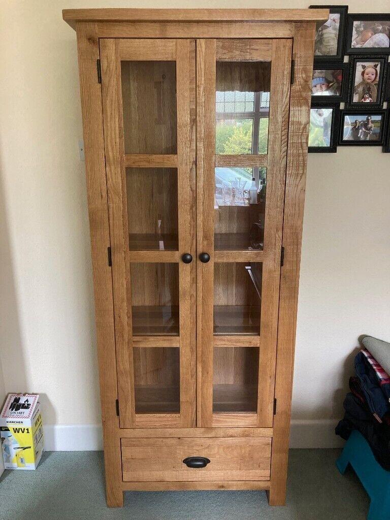Tall Rafeala Oak Glass Display, Wayfair Dining Room Cabinets