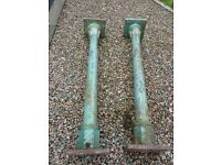2 large steel garden pillars