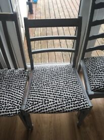 Grey dining chairs with mono spot fabric seat. 4 available. L13