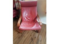 Red leather ikea chair