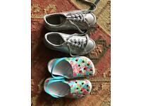 Girls summer shoes trainers crocs size 1 and size 13