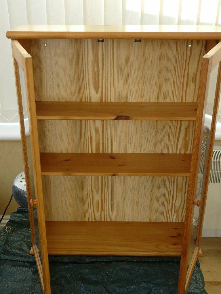 Small Pine Cabinet With 2 Glass Doors 3 Shelves Ideal