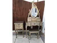 Toulouse Gold Dressing Table, 4 Drawer Chest & Bedside Table