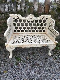 Two seater cast iron garden bench