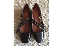 Next Black Patent Wide Fit Shoes Size 6 (39)