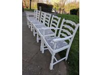 Vintage dining chairs x 6. Rustic/shabby chic. Antique white distressed/navy.