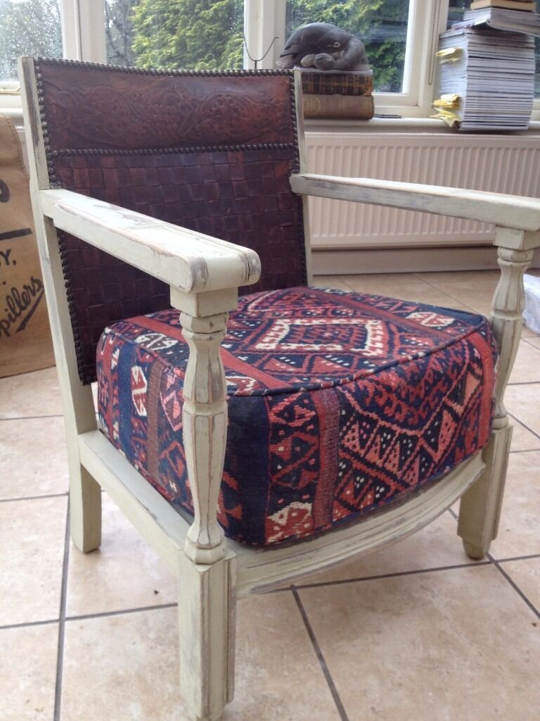 """Antique chair upholstered in Andrew Martin fabricin Holt, NorfolkGumtree - Antique chair upholstered in Andrew Martin fabric, wood painted in """"Paint and Paper Library"""""""