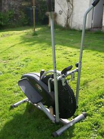 Cross trainer, adjustable friction control