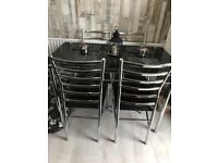 Black glass dining table + 4 chairs