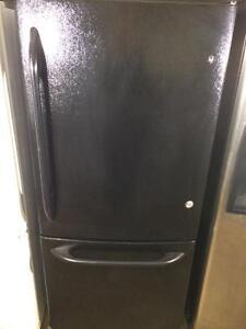 GE Black Fridge With Bottom Freezer, Energy Star, FREE WARRANTY