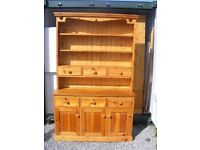 CAN DELIVER - SOLID PINE BEAUTIFUL LARGE DRESSER WITH WOODEN BACK IN GOOD CONDITION
