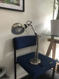 5 x Ikea FORSA Chrome Desk Lamps with light bulbs