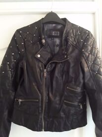Ladies Black Leather Jacket size 10
