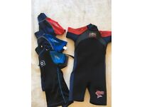 Kids age 3-4 Wetsuit and 3x Rash Vests