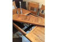 Solid Oak Extendable 6 8 Seater Dining Table Chairs
