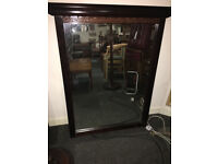 Handsome Very Large Heavy Antique Carved Mahogany Over-mantle or Wall Standing Mirror