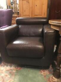 Leather Italian designer swivel chair