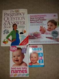 Pregnancy, baby names and meal planner books