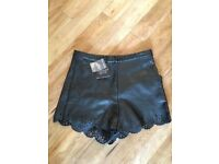 New with tags Topshop black leather look laser cut shorts size 4 petite