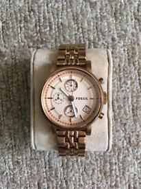 Ladies Fossil Watch - Rose Gold *Brand new battery!!*