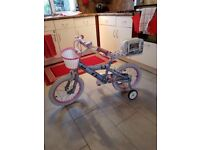 Girls Puppy Bike with Stabilisers for 4-6 yrs (taken out once)