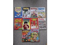 10 comic annuals - Beezer,Desperate Dan,Bash Street Kids,Dennis,Sparky,Topper,Judy,Tammy,June