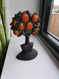 Door Stop wedge prop Iron Metal Orange tree Opener £5 Christmas present idea