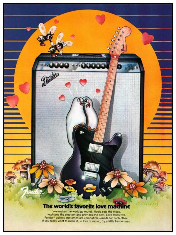 """Fender Guitars * POSTER * 24"""" Music Store & Promo ad - 1976 TELECASTER Quad Verb"""