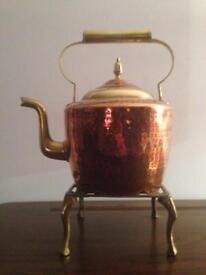 2 old kettles and stands. 1 old jam pan