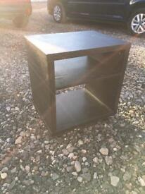 Two black open bedside tables