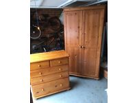 Matching pine wardrobe and chest of drawers