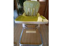 QUALITY MAMAS AND PAPAS HIGH CHAIR/FOLDABLE FOR STORAGE/TRANSPORT VGC WITH REMOVEABLE CUSHIONSEATING