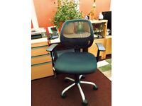 Office Desk (light beech) & Office Chair (with mesh back & arms)