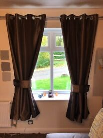 "Luxury 46"" wide x 72"" drop Brown Eyelet Curtains, Dunelm"