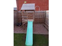 Tp wooden garden play area with fireman sam pole and sandpit and slide