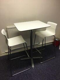 High white gloss table & chair set