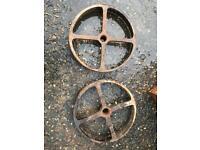 Two cast vintage wheels