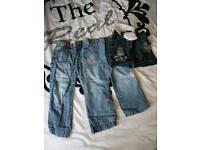 X2 denim jeans and denim shorts