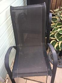 Black metal garden chairs x 4
