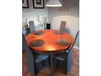 G Plan Extendable Table and 4 Newly Upholstered Unusual Chairs Can Deliver