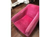 pink velvet habitat armchair