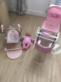 Baby Annabelle pram doll and 3 in 1 chair set