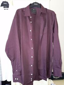 "New M&S Collection Mens Shirt - Burgundy/White Pinstripe - 16"" Collar / 42"" Chest"
