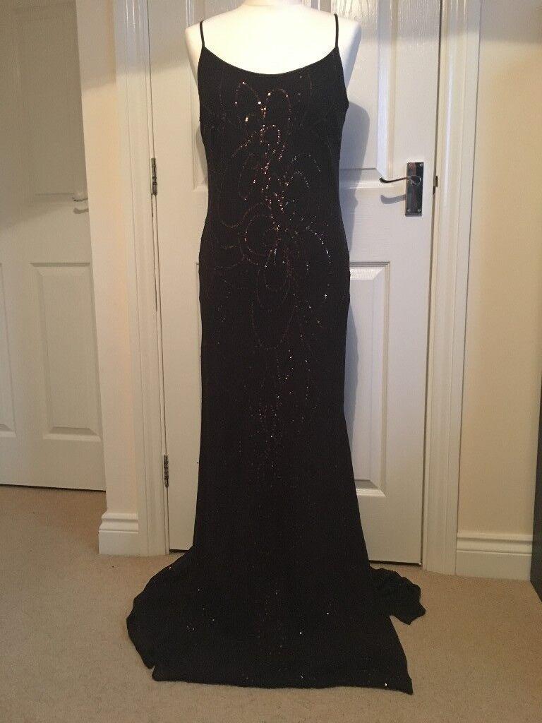 Ben de Lisi full length evening dress brown with bronze sequins size 12