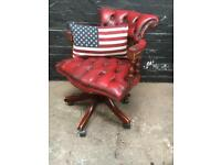 Beautiful button back Leather chesterfield captains swivel chair