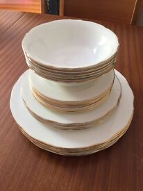 Vintage assorted Duchess bone china plates and bowls with decorative gold ring