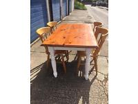 Farmhouse dining room table table with four chairs
