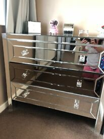 Mirrored drawers and bedside table